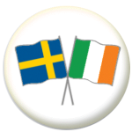 Sweden and Ireland Friendship Flag 25mm Pin Button Badge